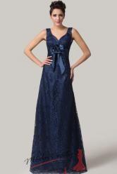 Vel. 40.- Tmavě modré krajkové šaty s květinou