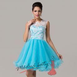 Koktejlové šaty s modrou sukní a bílou krajkou