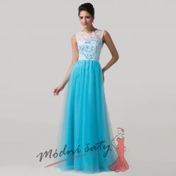 Dlouhé šaty s modrou sukní a bílou krajkou