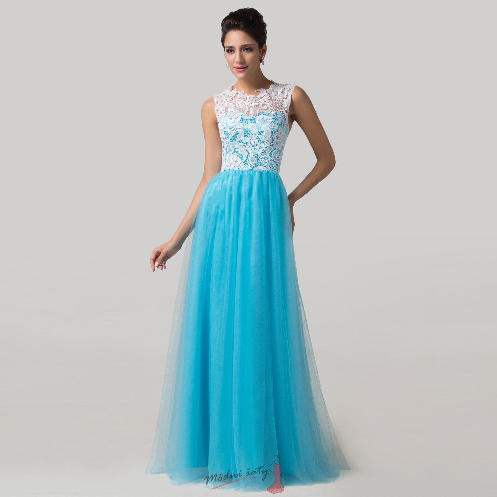 6cbd73b5d42 Dlouhé šaty s modrou sukní a bílou krajkou