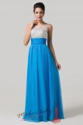 Modré plesové šaty se stříbrným vrškem