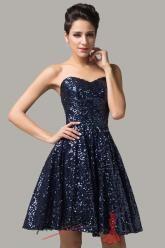 Tmavě modré plesové šaty ke kolenům