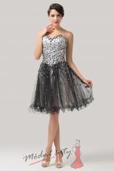 Stříbrné koktejlové šaty s korálky