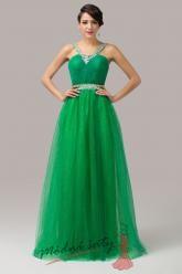Zelené plesové šaty s asymetrickými ramínky