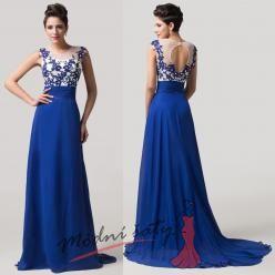 Tmavě modré květinové šaty na ples