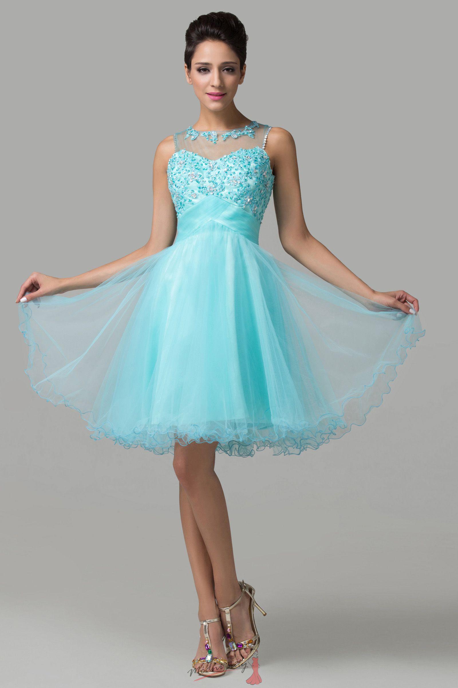 Krátké plesové šaty v modré barvě 2cf9b91094