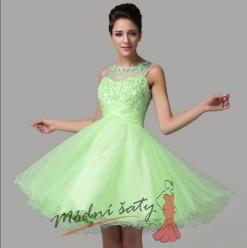 Vel. 38.- Krátké plesové šaty s vyšívaným vrškem