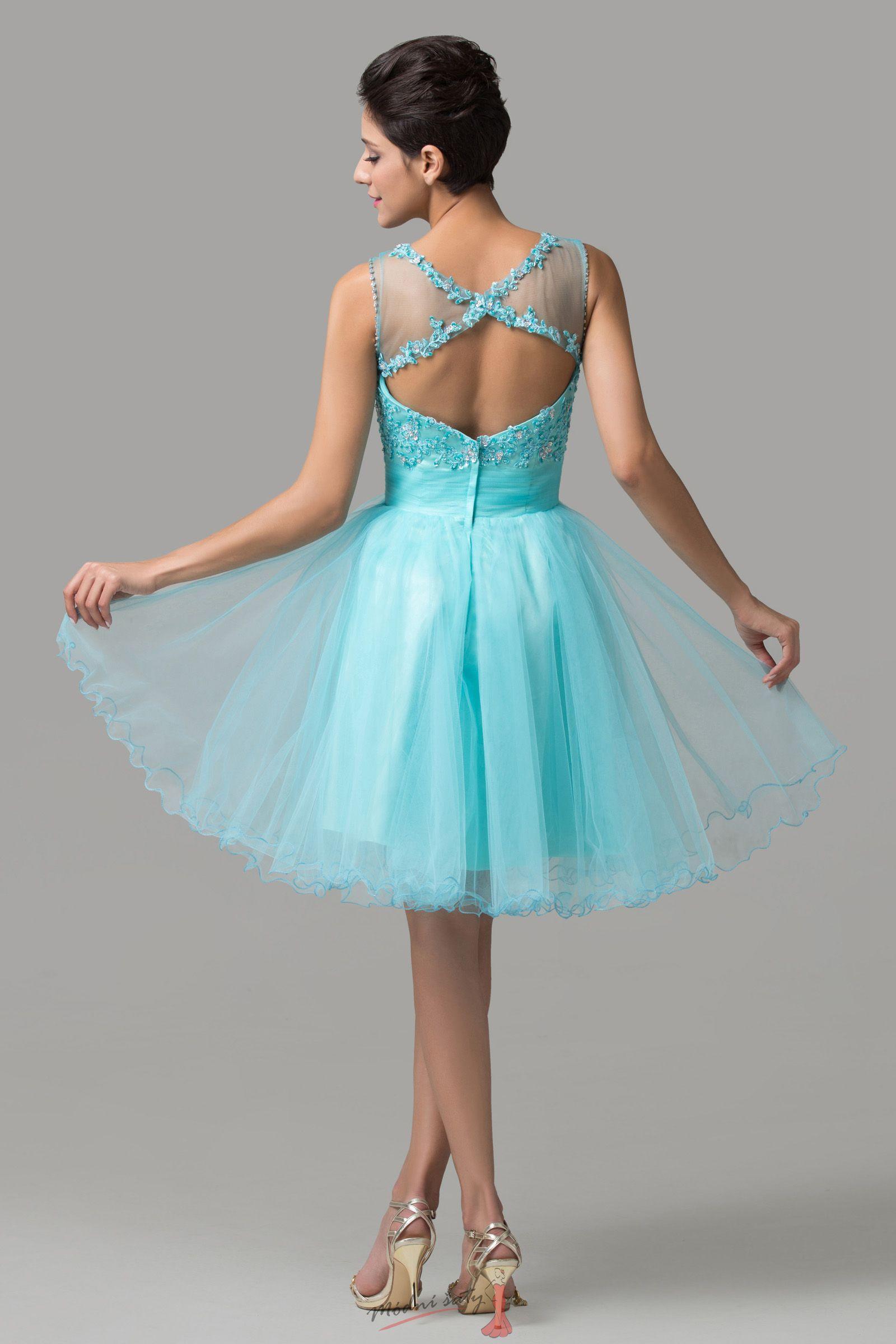 Krátké plesové šaty v modré barvě 80082df589