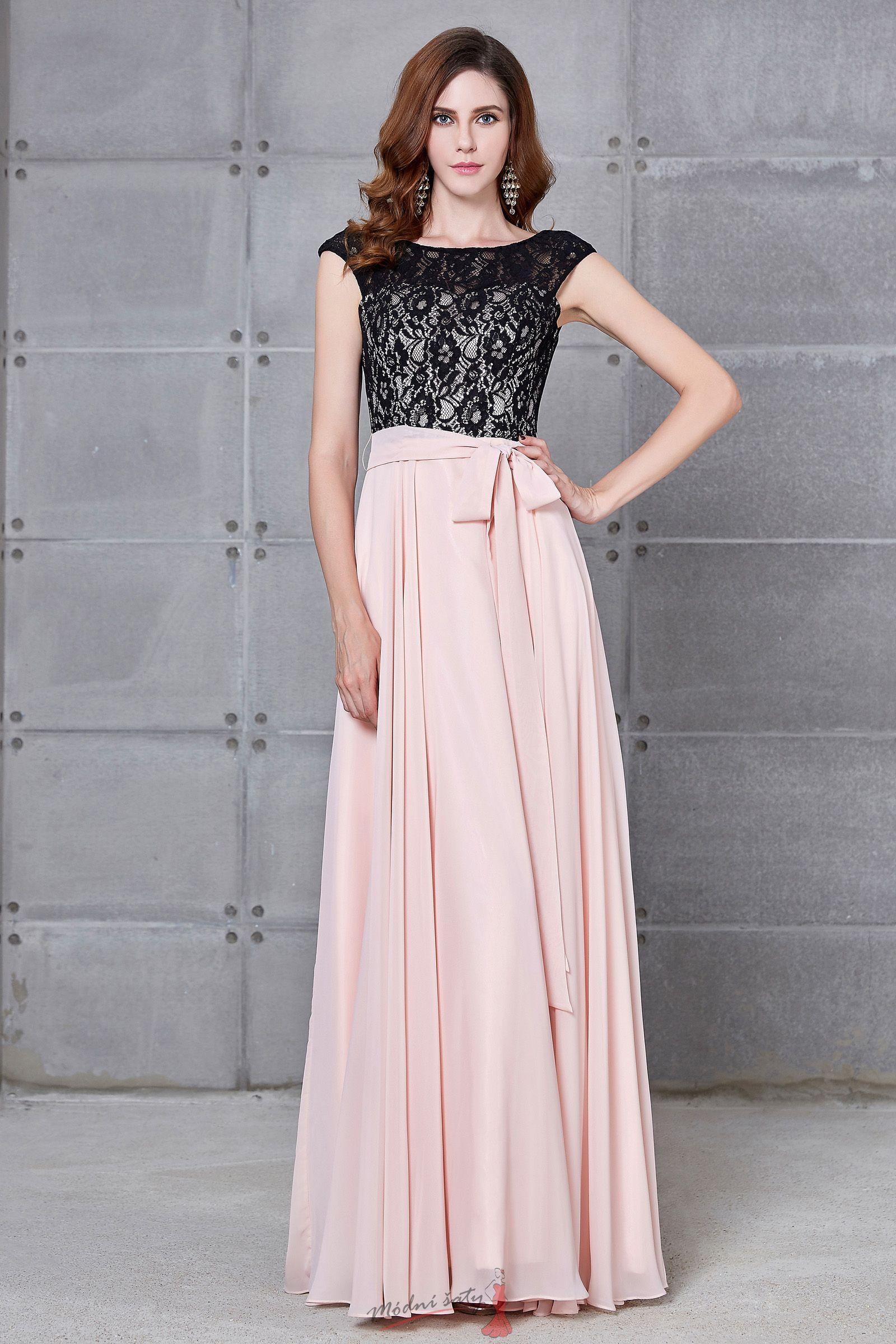 0bbd49e3493 Společenské šaty růžové s černou krajkou