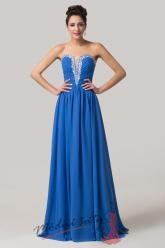 Modré šaty do tanečních s hlubokým výstřihem