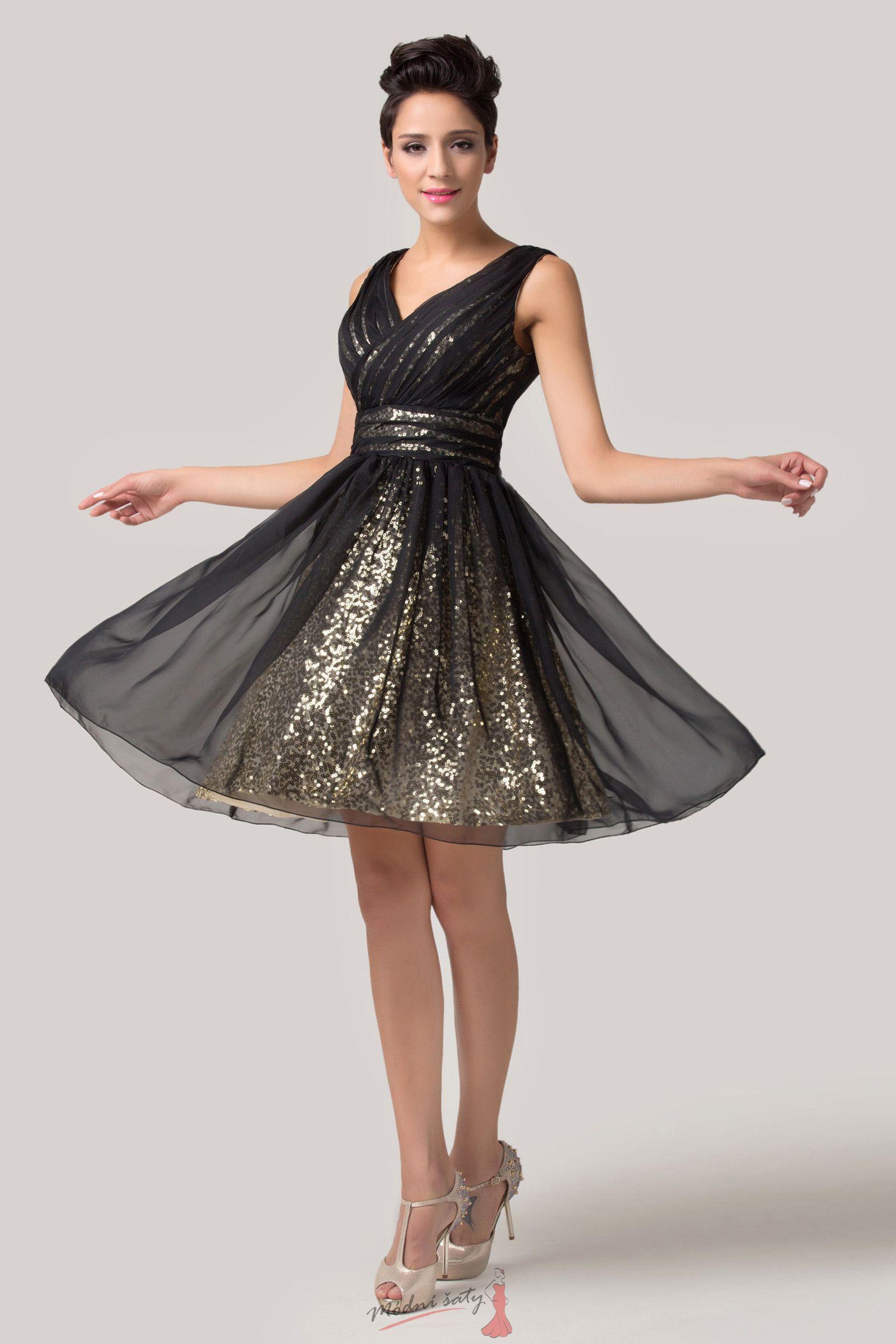 dc040d553b95 Společenské šaty zlatočerné