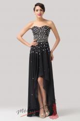Dlouhé černé šaty s asymetrickou sukní