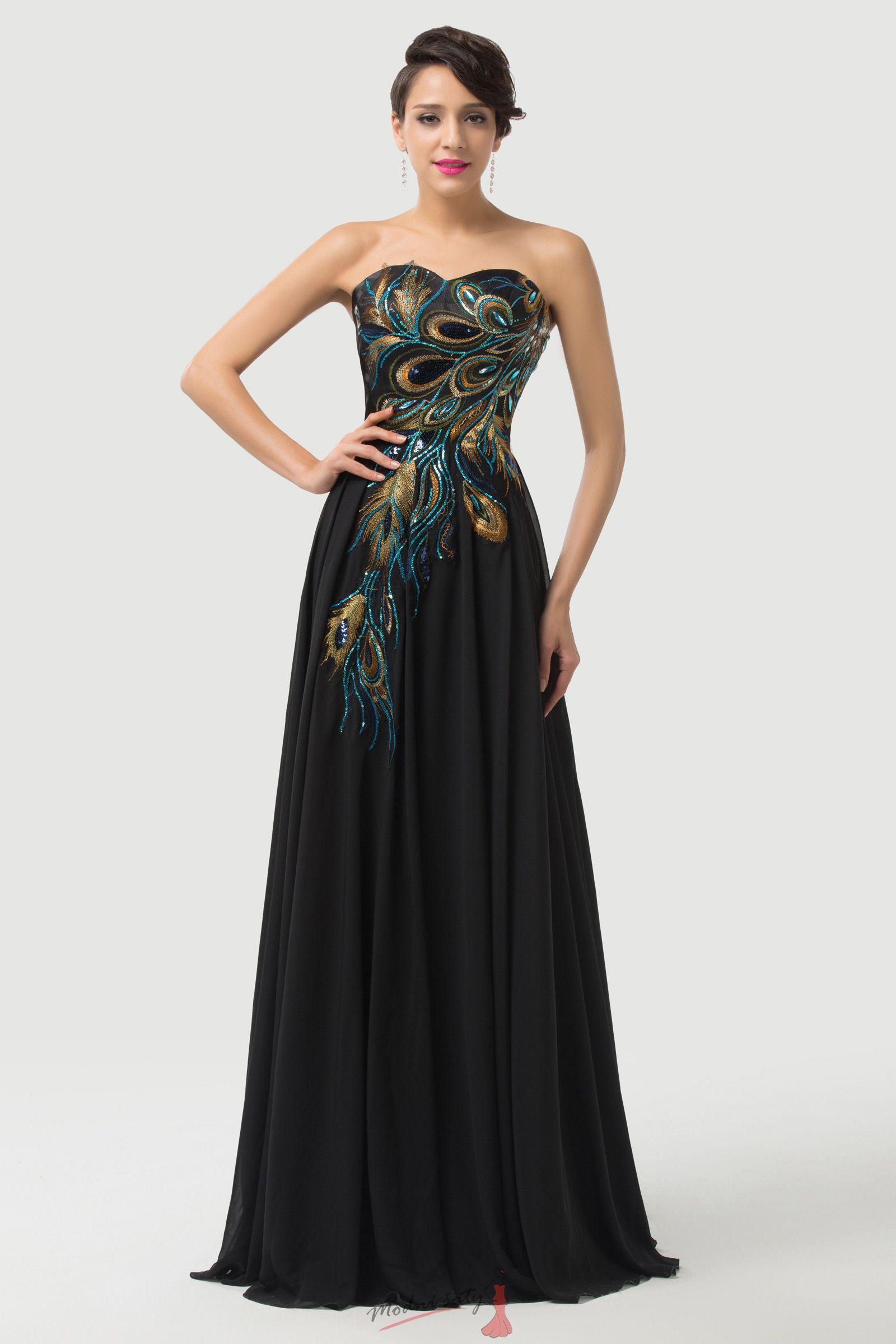 Dlouhé večerní šaty s pávem 35c44d74d2