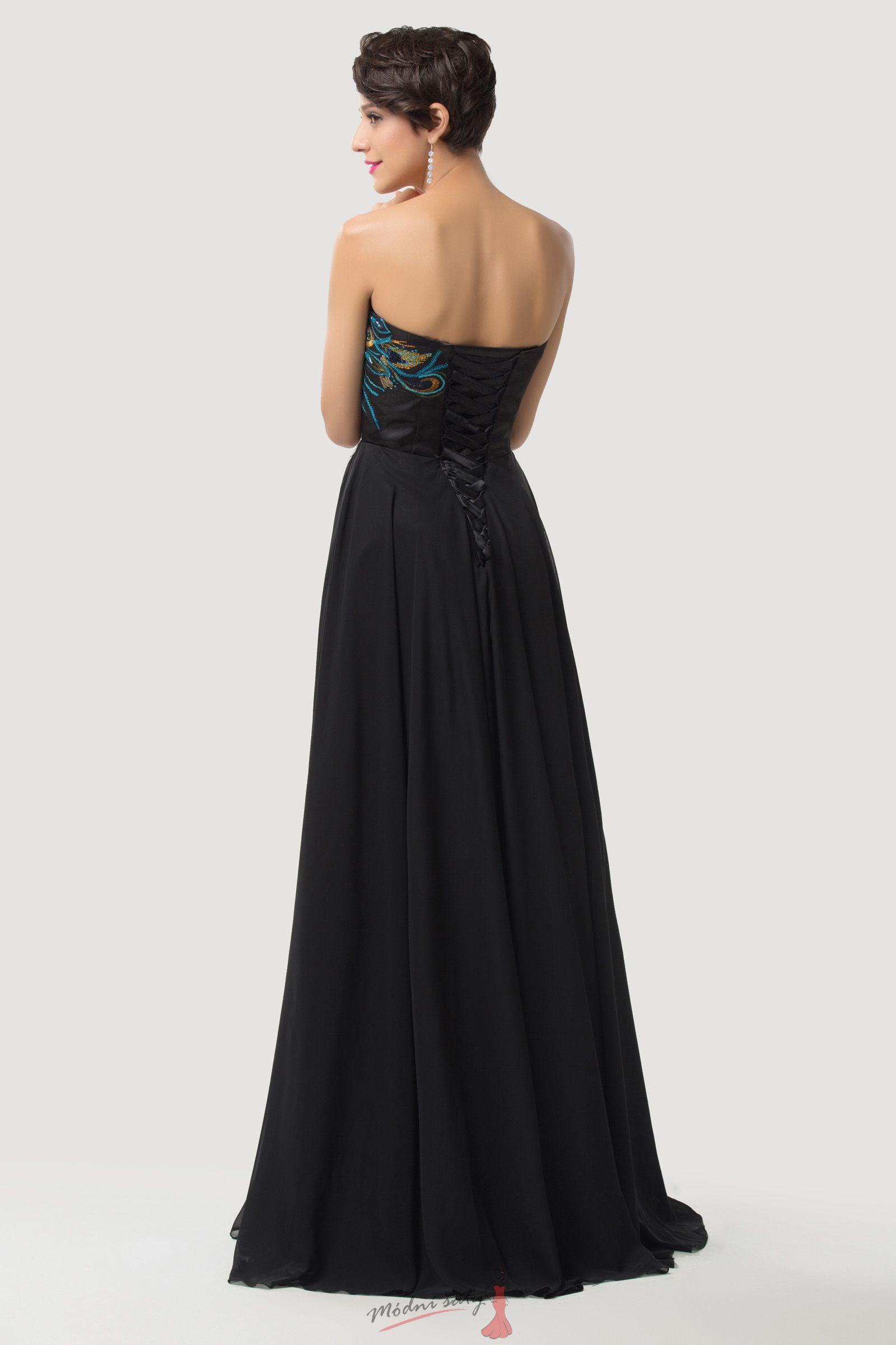 Dlouhé večerní šaty s pávem 035d8cd1c8