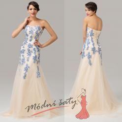 Bílé plesové šaty s barevnou výšivkou - více barev
