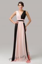 Dvoubarevné plesové šaty s výstřihem do V - více barev