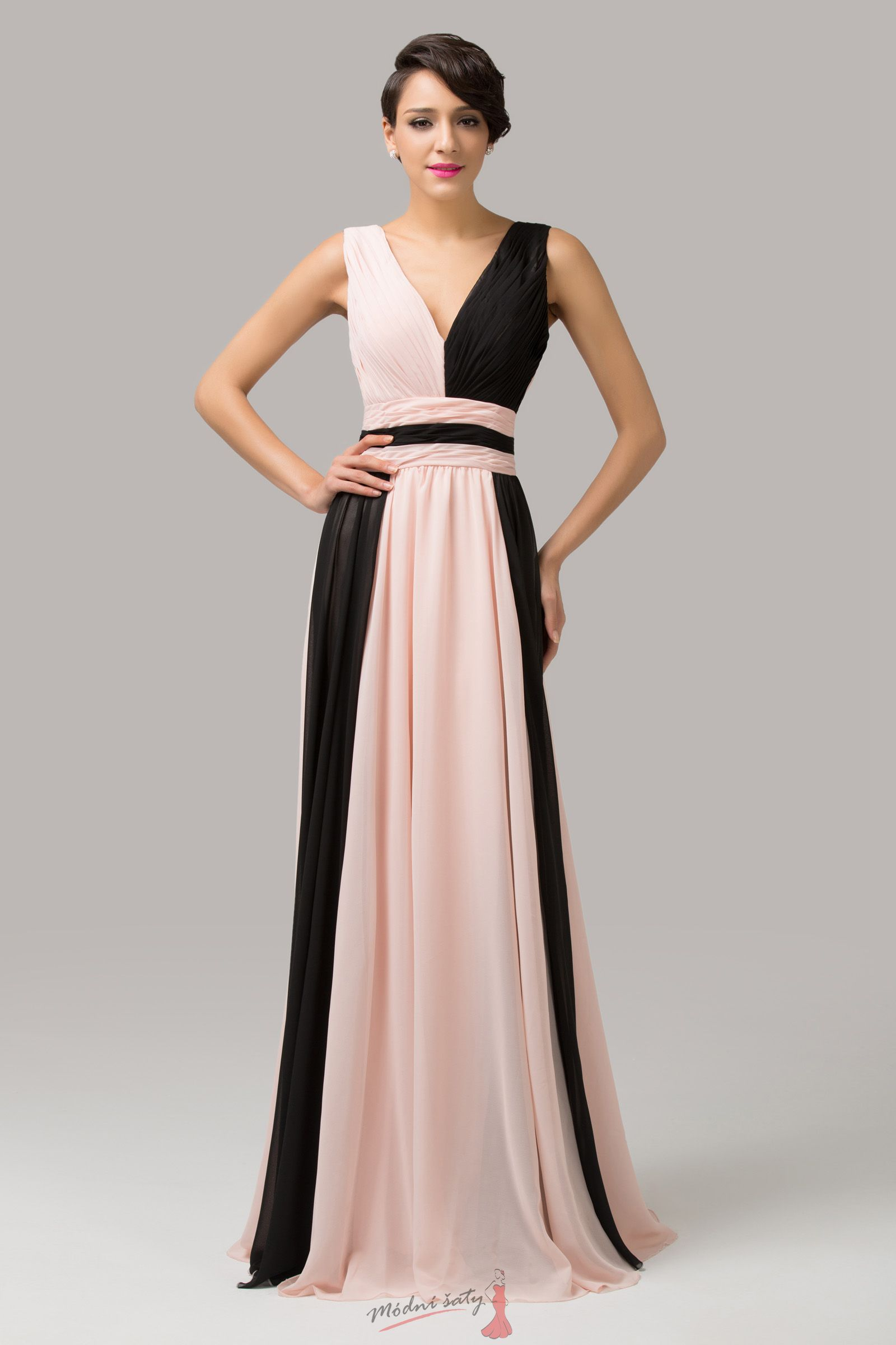d53b59fc5e99 Dvoubarevné plesové šaty s výstřihem do V - více barev