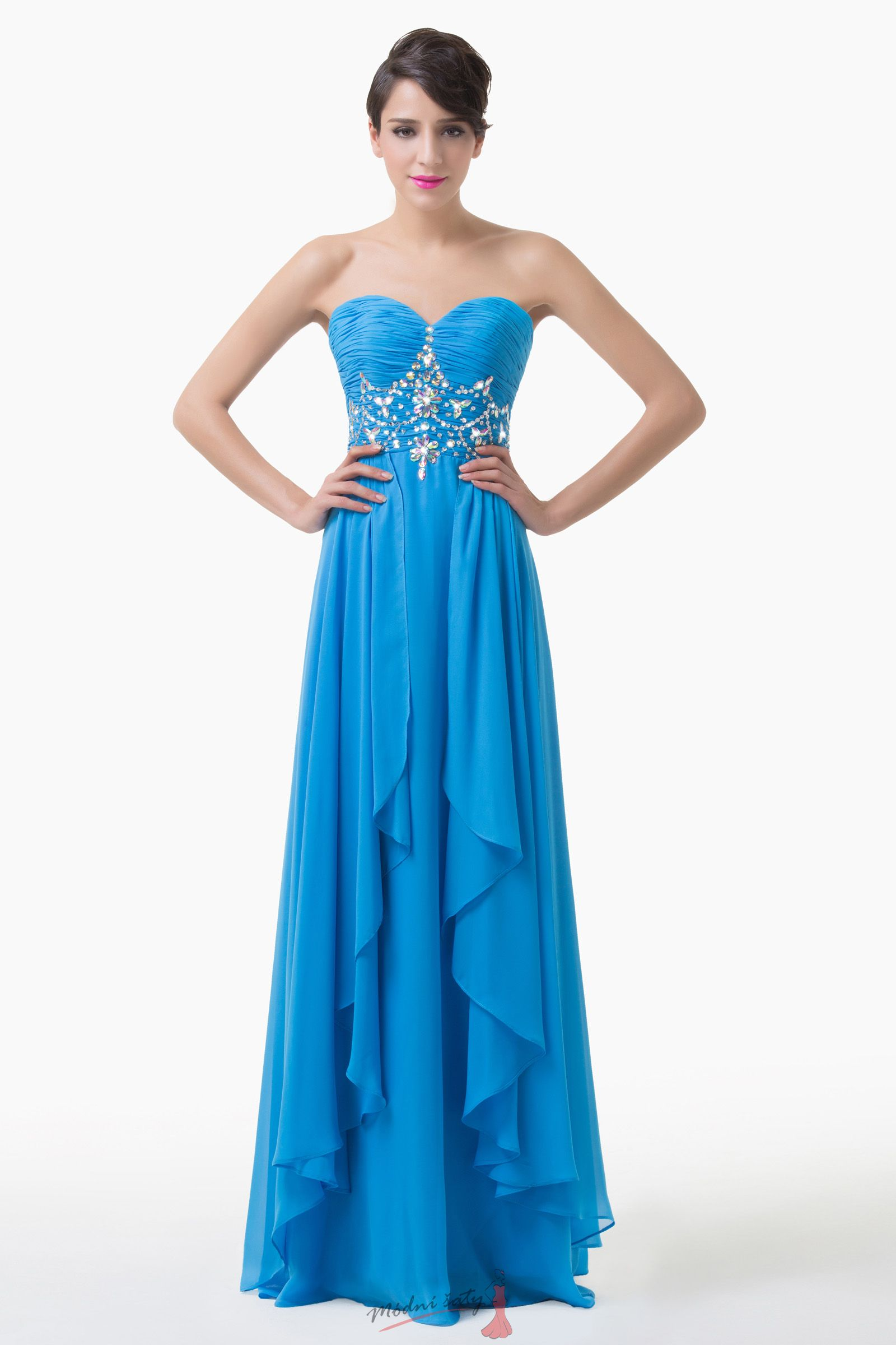 f1717496f74 Nebesky modré plesové šaty bez ramínek