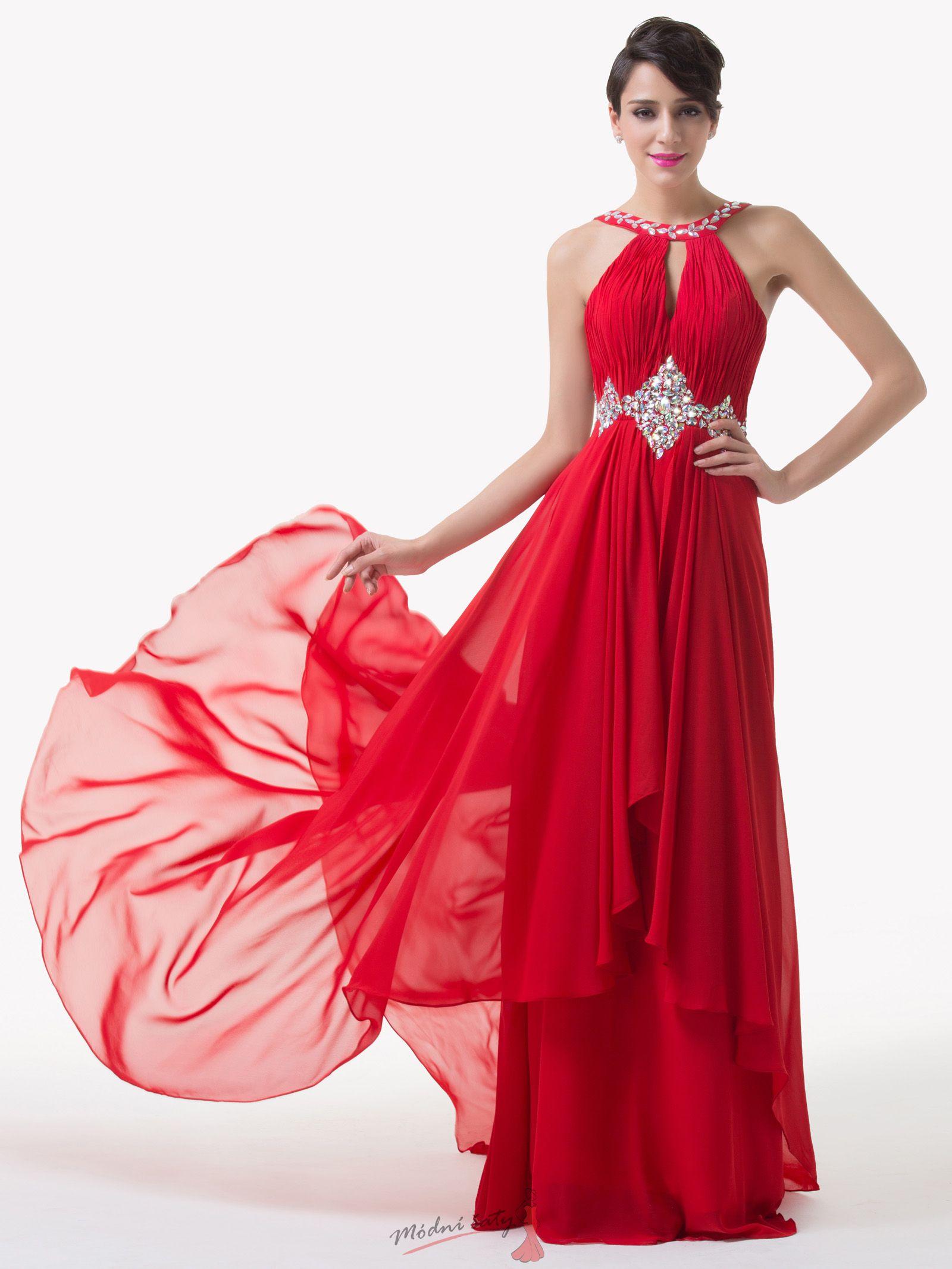 Červené plesové šaty s vlečkou ff25b309515