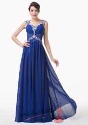 Modré večerní šaty s rukávky
