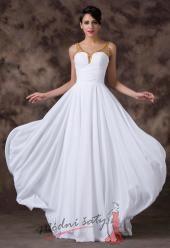 Bílé plesové šaty se zlatými ramínky