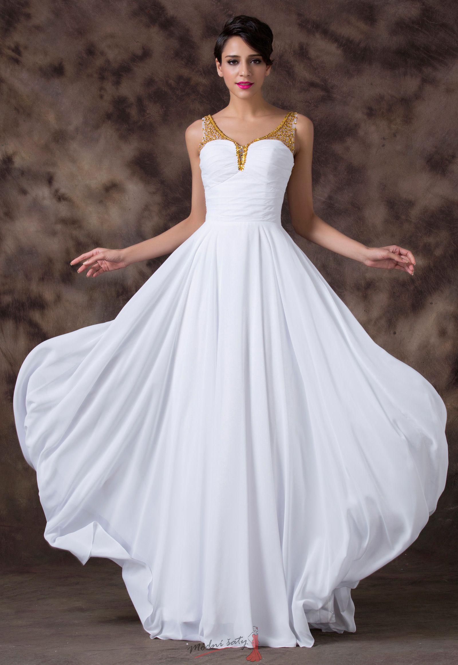Bílé plesové šaty se zlatými ramínky 60531f4da2