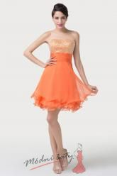 Oranžové koktejlové šaty s flitry