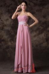 Růžové plesové šaty se třpytivým pasem