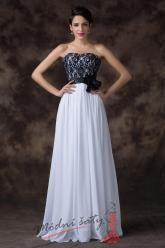 Bílé společenské šaty s černou krajkou