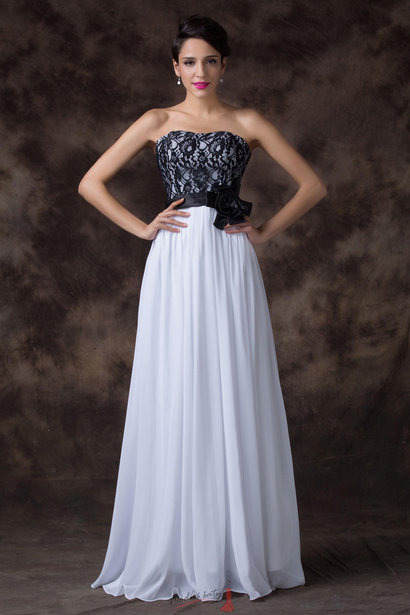 Bílé společenské šaty s černou krajkou 24adf9a13ef