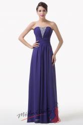 Tmavě modré večerní šaty se stříbrným dekoltem