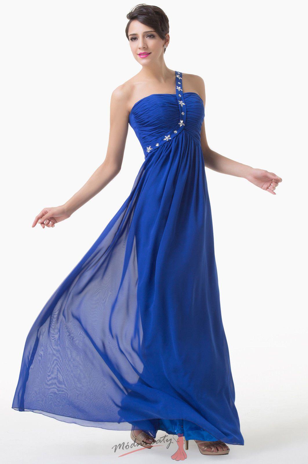 a40f5e7ebf7 Tmavě modré večerní šaty na ramínko