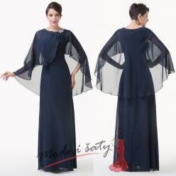 Večerní šaty tmavě modré se šátkem a stříbrnou sponou