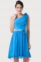 Modré plesové šaty s volánkem