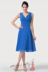 Tmavě modré koktejlové šaty s výstřihem do V