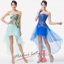 Velmi krátké koktejlové šaty s pavím vzorem - více barev