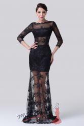 Černé večerní šaty krajkové průhledné