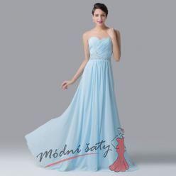Tyrkysové plesové šaty bez ramínek