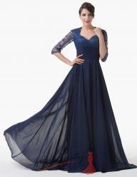 Společenské šaty v černomodré barvě s rukávky k loktům