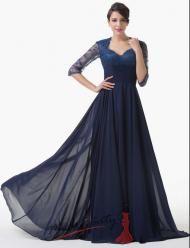 Vel. 34.- Společenské šaty v černomodré barvě s rukávky k lo