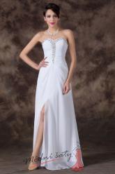 Bílé plesové šaty s holými zády zdobené korálky