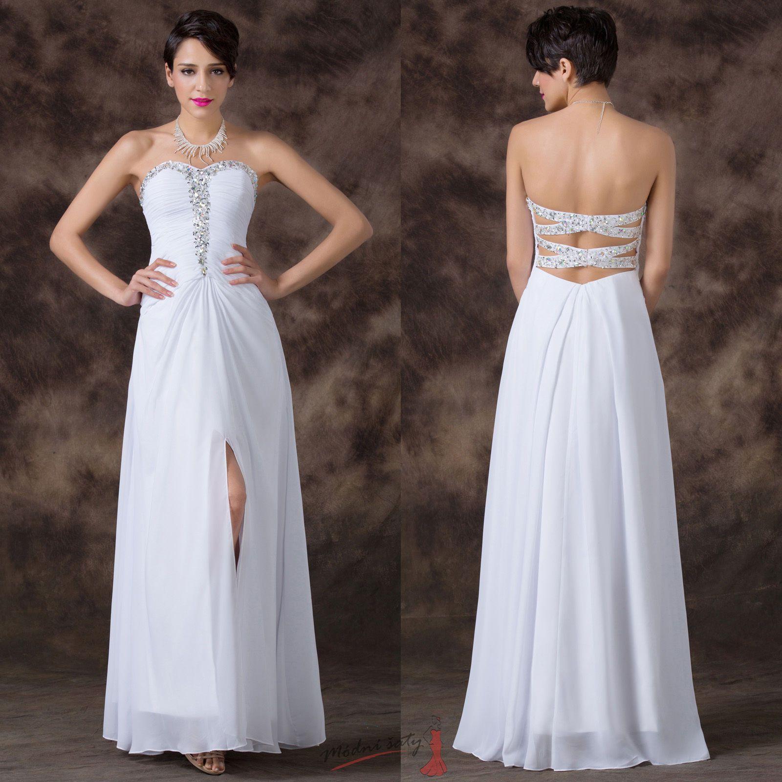 Bílé plesové šaty s holými zády zdobené korálky c83234cbba