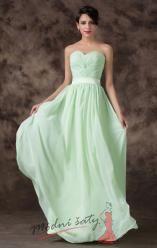 Světle zelené plesové šaty s páskem