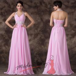 Světle růžové plesové šaty se zavazováním za krk