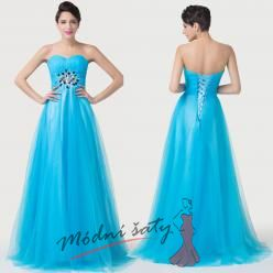 Modré plesové šaty s černými korálky