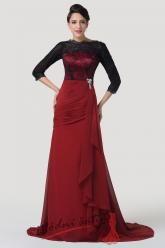 Rudé společenské šaty s černou krajkou