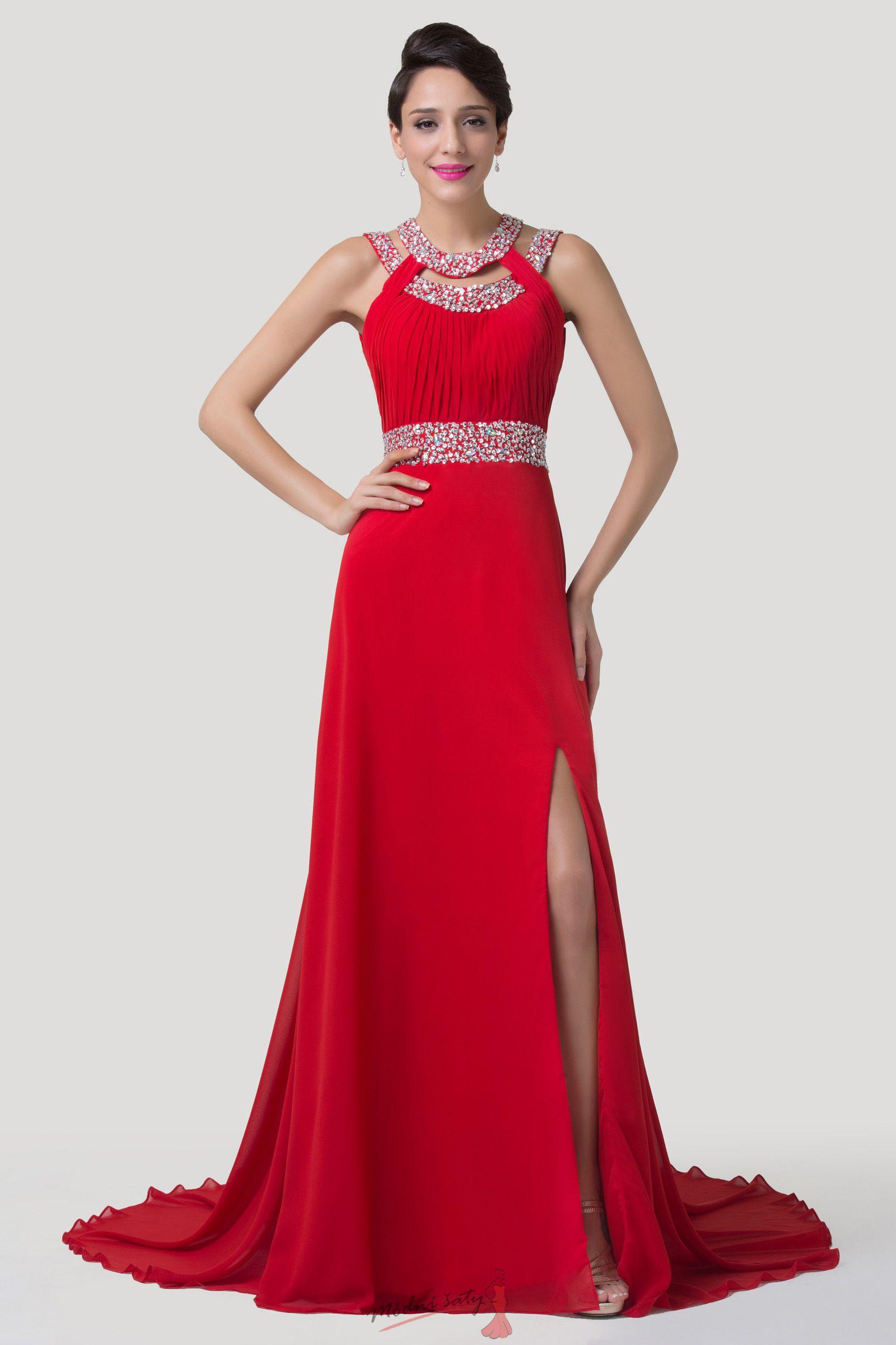 Červené plesové šaty s rozparkem d05301bce4