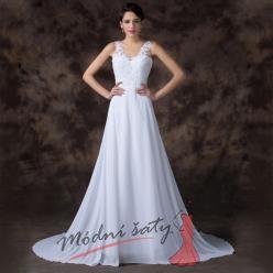 Bílé svatební šaty s krajkou a výstřihem do V