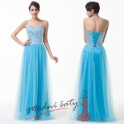 Modré plesové šaty s flitry a korálky