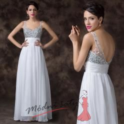 Bílé plesové šaty se stříbrným vrškem